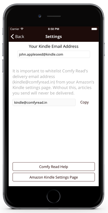 Comfy Read App: Send to Kindle Extension for iPhone / iPad